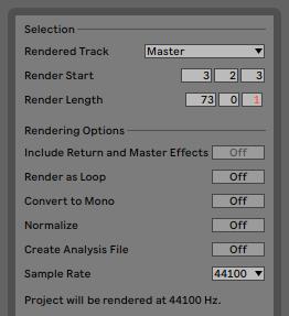 render as loop ableton live 10.1